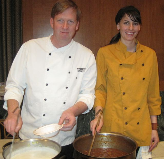 Spike Gjerde L with sous chef of Woodbury Kitchens Restaurant at