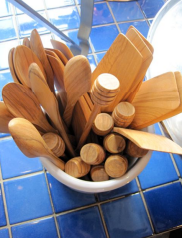 Wooden cooking utensils at La Cuisine - photo by Jordan Wright
