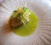 Maryland Crab Salad with green apple gelee on sunflower china - photo by Jordan Wright