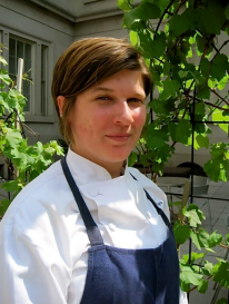 Poste Moderne's Sous Chef Jenn Flynn in the organic garden - photo by Jordan Wright