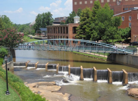 Greenville's Reedy River as seen from High Cotton Restaurant - photo by Jordan Wright