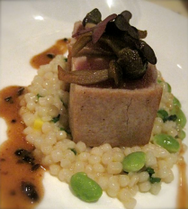 Rare seared tuna, pearl pasta, Honshimeiji, Edamame, sake black beans at Deveraux's - photo by Jordan Wright