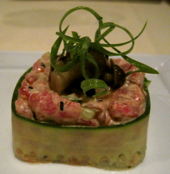 Beef Tartare with compressed cucumber and scallion wings at Deveraux's - photo by Jordan Wright