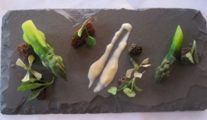 The salad course of asparagus and morels at The K Club - photo credit Jordan Wright