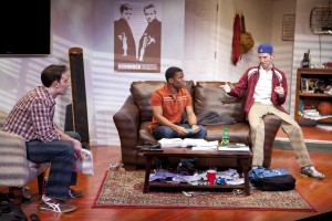 "(from left to right) Danny Gavigan (as Jimmy), Paul James (as Johnson) and Evan Casey (as Cooper) talking about last night's big party in ""Really Really"". At Virginia's Signature Theatre through March 25, 2012. www.signature-theatre.org. Photo: Scott Suchman."
