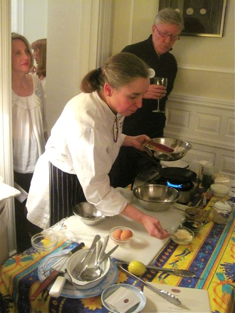 Robin Ellis and Katherine Tallmadge watch as Janis McLean demos a recipe from the book - photo credit Jordan Wright