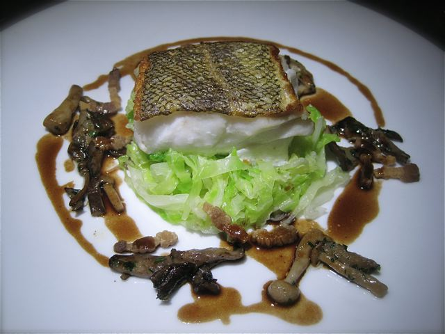 Pave of roasted cod with Savoy cabbage, lardons and mushrooms at The Jefferson - photo credit Jordan Wright