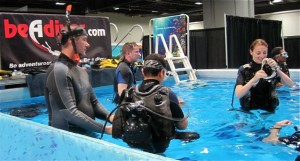 Scuba practice at the Travel and Adventure Show - photo credit Jordan Wright