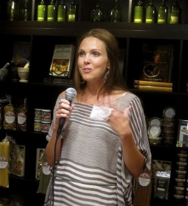 Carrie Morey of Callie's Charleston Biscuits addresses the press - photo credit Jordan Wright