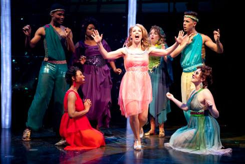 "Erin Weaver (center, as Kira) with her Greek Muses (from left to right) Nickolas Vaughan, Kellee Knighten Hough, Nova Y. Payton, Sherri L. Edelen, Mark Chandler, and Jamie Eacker. The musical comedy ""Xanadu"". Photo: Scott Suchman"