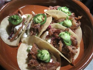Crispy pig ear tacos at Green Pig Bistro - photo credit Jordan Wright