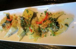 Baby artichokes starter at The Curious Grape - photo credit Jordan Wright