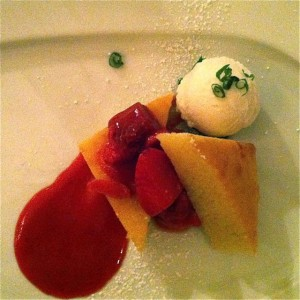 Olive oil cake with strawberries and basil ice cream at The Grille at Morrison House - photo credit Jordan Wright
