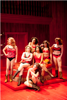 The girls of Miss Mona's whorehouse. From left to right, back row: Amy McWilliams, Nadia Harika, Maria Rizzo, Brianne Camp; from left to right, middle row: Nora Palka, Tamara Young; bottom row: Jamie Eacker. Photo: Scott Suchman.