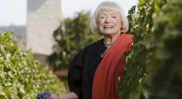 "Margrit Mondavi, the ""First Lady of Napa Valley,"" is most at home in the vineyards. (Photo courtesy of Robert Mondavi Winery)"