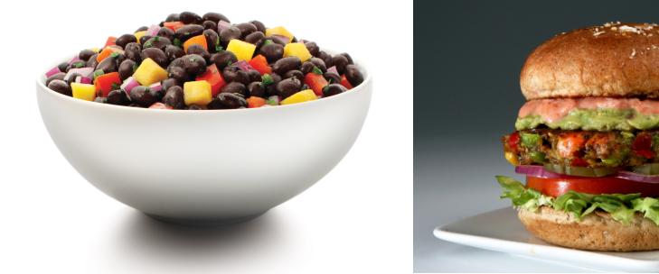 Electric Kitchen Black Bean Salad Side Bowl and Cali Veggie Burger - Photo Jordan Wright