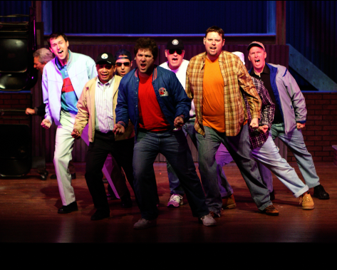 Marcus Fisk (Reg), Michael Gale (Malcolm), Rene Keith Flores (Marty), Ben Norcross (Ensemble), Dan Deisz (Teddy), Christopher Harris (Dave), and Michael Bagwell (Tony) - Photo credit to Shane Canfield