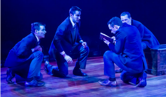 "A tight-knit band of boarding school students (from left: Alex Mills, Joel David Santner, Jefferson Farber, and Rex Daugherty) uncover a secret copy of the banned play ""Romeo and Juliet"" in ""Shakespeare's R&J,""  Photo: Teresa Wood."