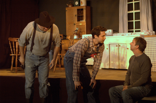 Morgan played by Elliott Bales, Angus by Paul Tamney and Miles by Daniel Westbrook - Photo Credit Michael deBlois
