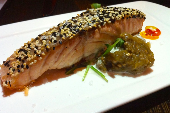 Sesame Crusted Salmon with horseradish sauce and eggplant jam - photo credit Jordan Wright