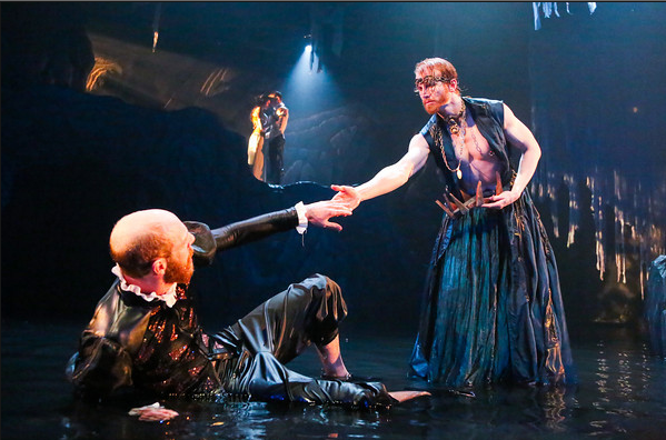 Ryan Tumulty as Alonso and Philip Fletcher as Prospero; Irina Kavsadze as Miranda and Scott Brown as Ferdinand (in background) photo by Johnny Shryock