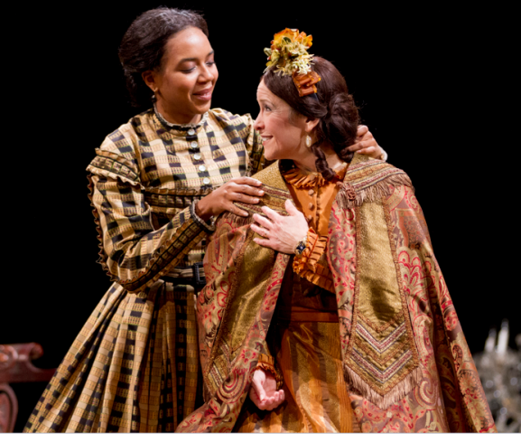 (L-R) Sameerah Luqmaan-Harris as Elizabeth Keckly and Naomi Jacobson as Mary Todd Lincoln - Photo by Scott Suchman.