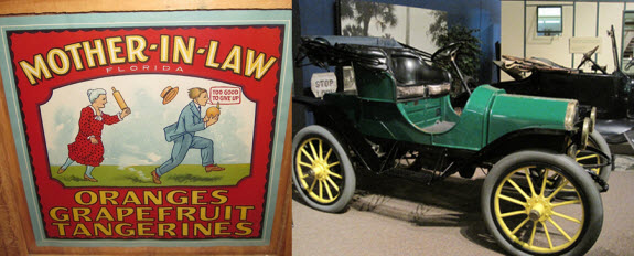 Early orange crate label and 1910 Electric Car at the Museum of Florida History - photo credit Jordan Wright