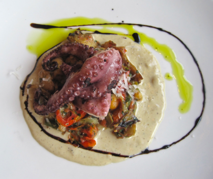 Grilled octopus with artichoke at Pizzeria Orso - photo credit Jordan Wright