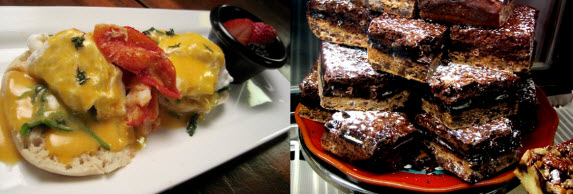 "Lobster Benedict and a plate of  the ""Slutty Brownies"" at the Paisley Cafe - photo credit Jordan Wright"