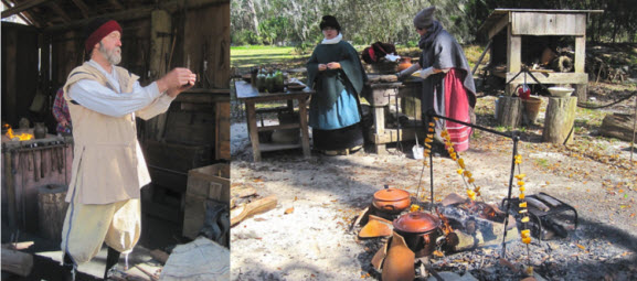 The blacksmith at his forge and pumpkin cooking at the Mission San Luis - photo credit Jordan Wright