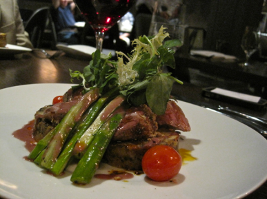 Veal loin with spring asparagus at Jardenea - photo credit Jordan Wright
