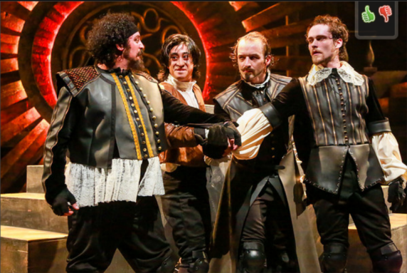 The Musketeers and D'Artagnan: Hector Reynoso as Porthos, Dallas Tolentino as D'Artagnan, Ben Cunis as Athos and Matthew Ward as Aramis. Photo credit Johnny Shryock