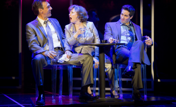 "Joanne (Sherri L. Edelen; center) gets fired up to sing ""The Ladies Who Lunch"" while out on the town with Larry (Thomas Adrian Simpson; left) and Bobby (Matthew Scott; right). Photo: Scott Suchman."