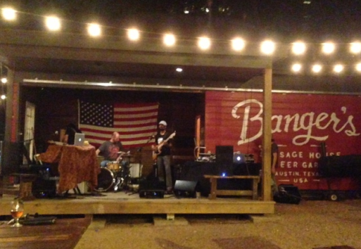 Live band next to the Banger's sign