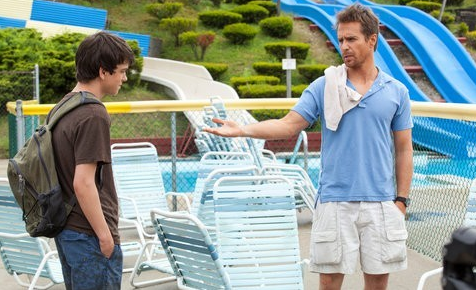 "Liam James as ""Duncan"" and Sam Rockwell as ""Owen"" on the set of 'The Way Way Back' Photo by Claire Folger, courtesy of Fox Searchlight Pictures"