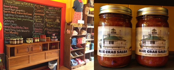 The list of hot sauces - Local blue crab salsa at Crabi Gras in Easton
