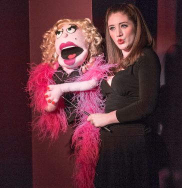 Lucy the Slut (puppet) and Claire O'Brien - Photos by Keith Waters