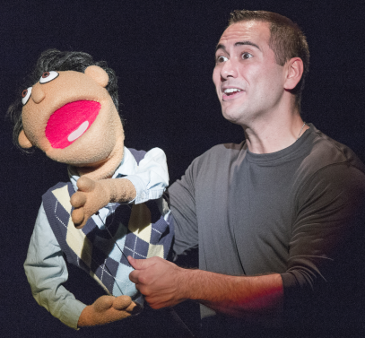 Princeton (puppet) and Sean Garcia - Photos by Keith Waters