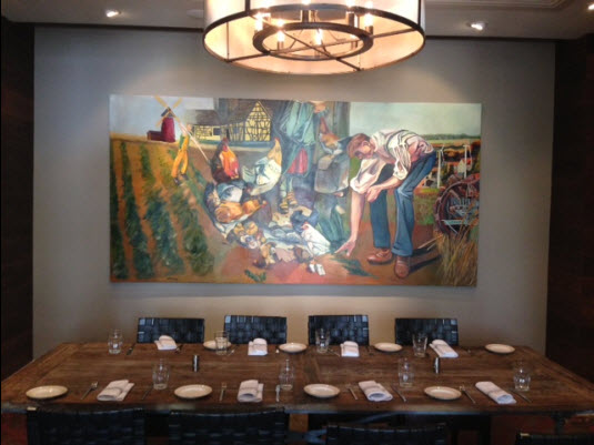 One of the private dining rooms. Painting by Brian T. Dang