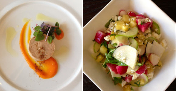 Nopa - Foie gras with carrot ginger swoosh - Spring radish salad with pineapple, mint and feta