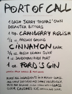 "Recipe for ""Port of Call"" cocktail by Brian Van Flandern"