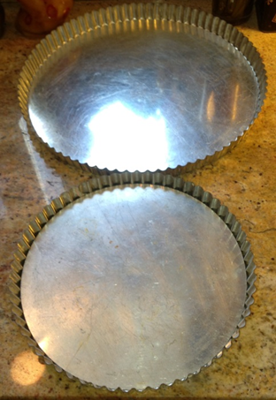 French tart pans, 9 ½ and 12 ½ inches in diameter