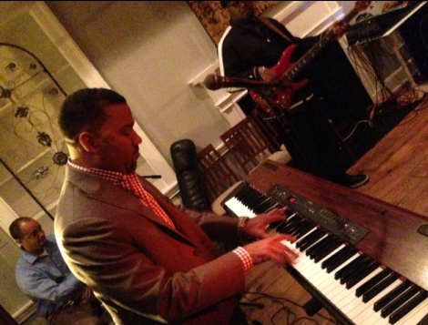 Jazz Master Marcus Johnson at FLO Wines party