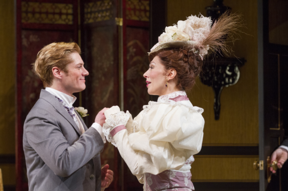 Gregory Wooddell as Jack and Vanessa Morosco as Gwendolen in The Importance of Being Earnest, directed by Keith Baxter. Photo by