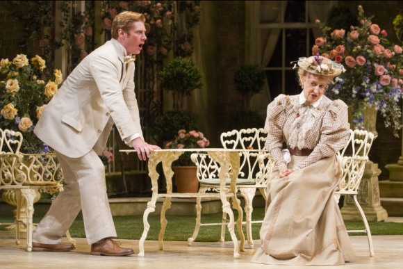 Gregory Wooddell as Jack and Patricia Conolly as Miss Prism in The Importance of Being Earnest, directed by Keith Baxter. Photo by Scott Suchman