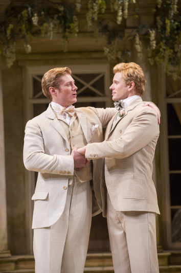 Gregory Wooddell as Jack and Anthony Roach as Algernon in The Importance of Being Earnest, directed by Keith Baxter. Photo by Scott Suchman
