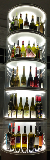 A ten-foot wine bottle tower