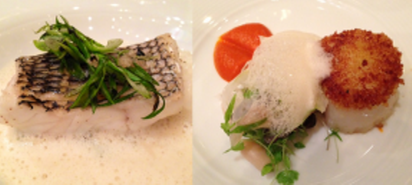 Steamed Sea Bass -- Sea scallop stuffed with bacalao and razor clam