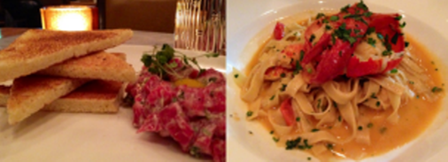 Steak tartare -- Lobster Pasta with shellfish cream