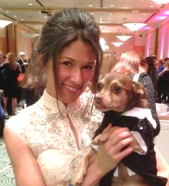 Kimberley Hammond's Chihuahua-mix, Todd, in evening wear